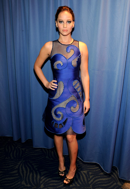 Jennifer Lawrence, People's Choice Awards | There's no reason this dress should have worked (mesh insets?!), but the Hunger Games star managed to pull off the fittingly futuristic number by Victor…