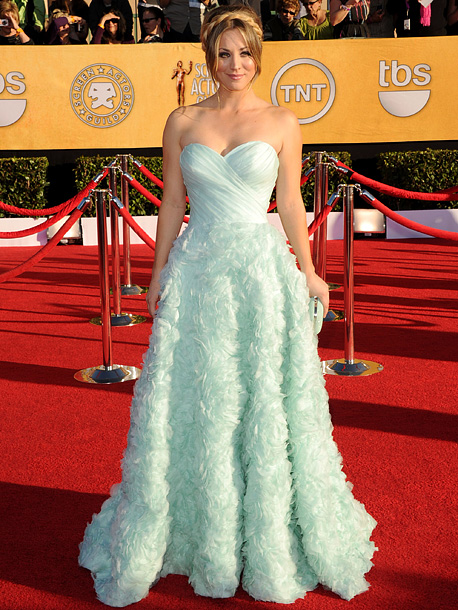 Kaley Cuoco, Screen Actors Guild Awards 2012 | We understand the affinity for princess dresses, but Kaley's minty green number was anything but fresh. C+