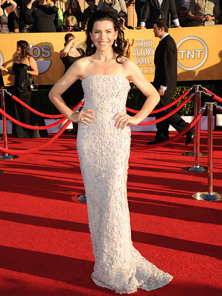 Julianna Margulies, Screen Actors Guild Awards 2012 | The Good Wife star played it pretty (if pretty safe) in a pale, strapless Calvin Klein. B