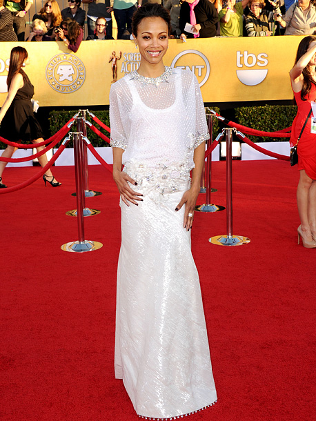 Zoe Saldana, Screen Actors Guild Awards 2012 | Rarely a red carpet disappointment, Zoe missed the mark in a major way in a frumpy white Givenchy Haute Couture dress. D-
