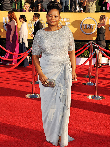 Octavia Spencer, Screen Actors Guild Awards 2012 | Having knocked her hair and makeup out of the park, Octavia could have been a head-to-toe favorite had it not been for the out-of-place sarong-style…
