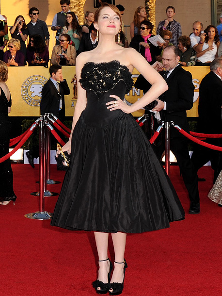 Emma Stone, Screen Actors Guild Awards 2012 | With her tea-length Alexander McQueen, Emma proves yet again that she's a fashion star. A