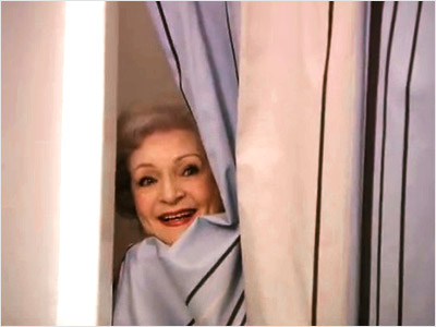 Betty White | Jay Leno commercial (March 2010) A shower scene with White, Hugh Jackman, and Jay Leno — [ shudder ].