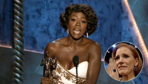 Viola Davis, Jessica Chastain, ... | When Viola Davis won Best Actress, she made everyone in the room cry, from her costar Jessica Chastain to... were those actual tears in the…