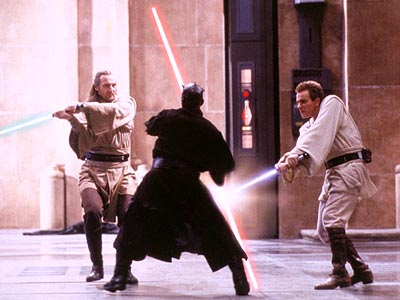 Star Wars: Episode I - The Phantom Menace, Ewan McGregor, ... | Slashing the competition, with 34 percent, was the Episode I fight where Darth Maul (center), with his two-bladed sword, takes on Qui-Gon Jinn (left) and…