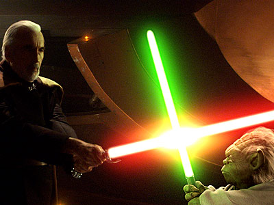 Star Wars: Episode II -- Attack of the Clones | Episode II — Attack of the Clones Didn't see that coming, did you? Little ol' Yoda, hobbling onto the scene after Count Dooku (Christopher Lee)…