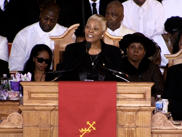 Dionne Warwick eulogized her cousin and kept the four-hour long service moving