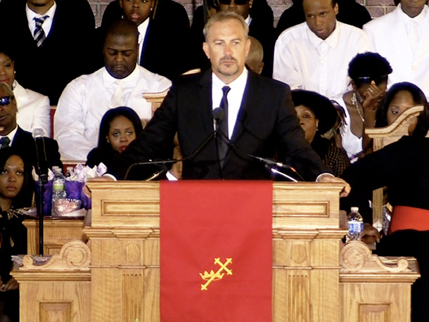 Kevin Costner, Houston's Bodyguard costar, talked of their experience during the movie and their connection because of their similar childhoods growing up in the Baptist church.