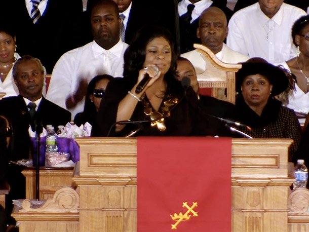 Gospel singer Kim Burrell tweaked Sam Cooke's ''A Change is Gonna Come'' to suit the occasion