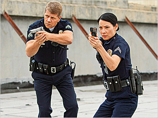 ROOKIE COPS Michael Cudlitz and Lucy Liu in Southland