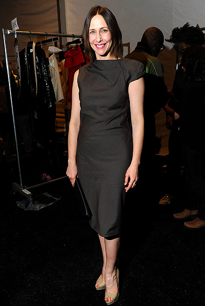 Fashion Week, Vera Farmiga | ''Who doesn't love a little monochromatic muted chocolate with flesh-toned, open-toed shoes and unpolished feet in fall? Me! Also, I know there's a recession on,…