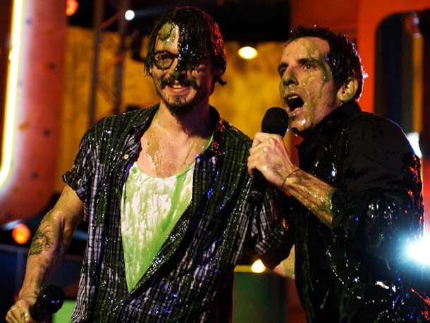 Ben Stiller, Johnny Depp | Stiller couldn't escape the fallout when a surprised Depp got doused.