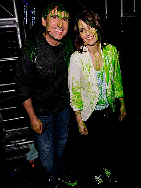 Tina Fey, Steve Carell | These two really should have known that their Lifetime Achievement Award would also be an excuse to get slimed.