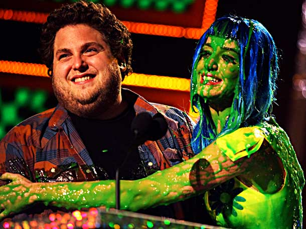 Jonah Hill, Katy Perry | Perry was already colorful with her blue wig and yellow dress, but the green slime added a touch more pizazz that she felt the need…