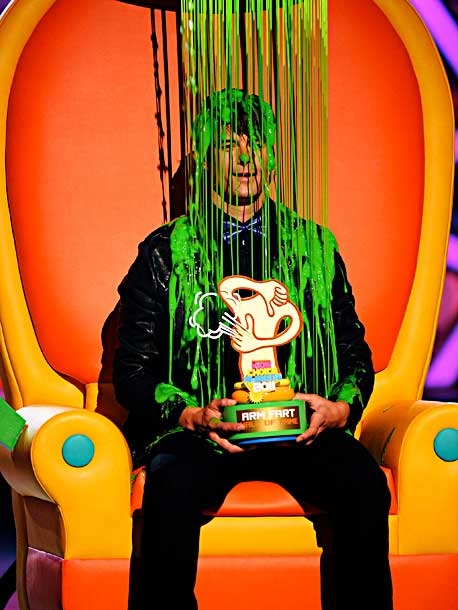 Josh Duhamel, Kids' Choice Awards | He had to wait until 2013 to host but the self-proclaimed King of the Arm Farts is no stranger to the green goo.