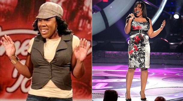 American Idol | The unassuming background singer with the big voice arrived at her audition in a cute hat, jeans, and vest ensemble. Although Melinda upgraded her look…