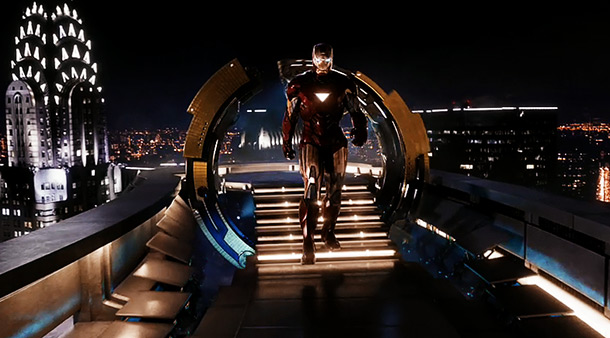The Avengers | Robert Downey Jr.'s Tony Stark flies to the top of his Manhattan skyscraper and lands on this platform, where a series of mechanical arms takes…