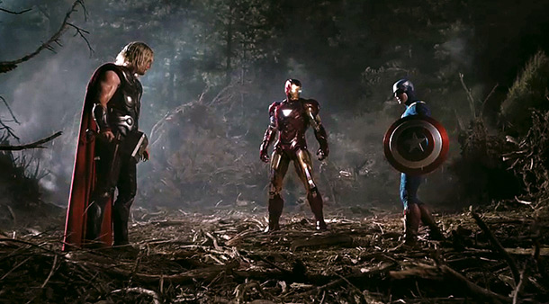 The Avengers | Thor, Iron Man, and Captain America square off against each other in the woods in this shot, which goes by without explanation in the trailer.…