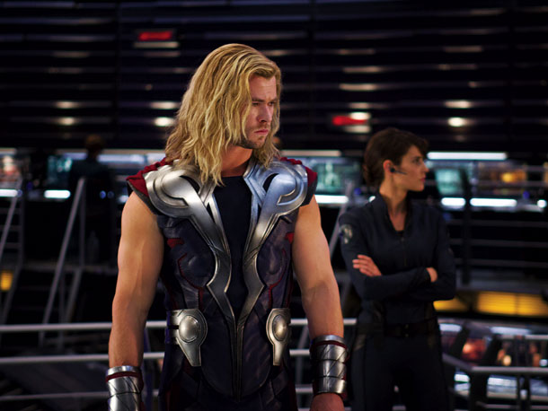 Thor (Chris Hemsworth) and Maria Hill (Cobie Smulders)