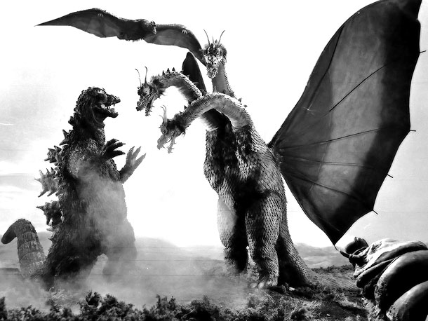 Fearsome Rating: 8 A flying three-headed monster from outer freaking space , Ghidorah is only defeated by the combined might of Godzilla, Rodan, and Mothra.