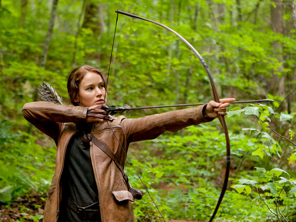 The Hunger Games, Jennifer Lawrence | ''Katniss' leather hunting outfit became a big discussion,'' says Makovsky. ''In the book, the jacket is her father's jacket and it's oversized. When we did…