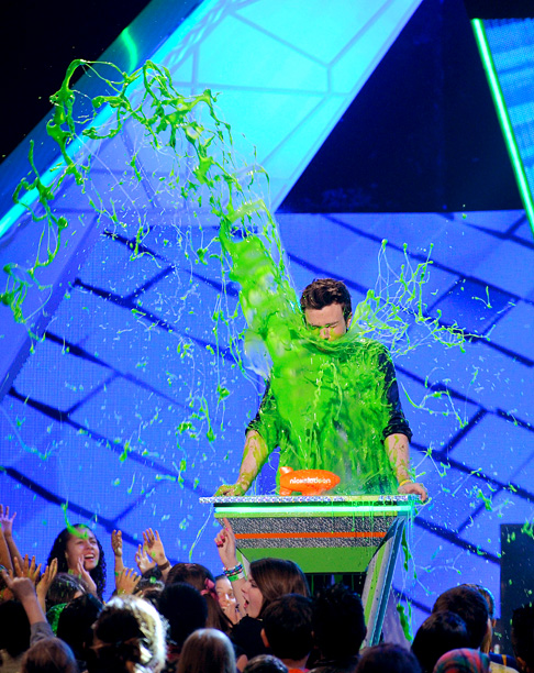 Chris Colfer, Kids' Choice Awards | Though he was happy to be there presenting, the actor may not have been quite Glee -ful about that face-full of slime.