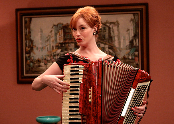 Mad Men, Christina Hendricks | Some women carry a purse. But serious women carry an accordion. This is called ''accessorizing.''