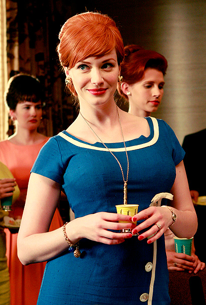 Mad Men, Christina Hendricks | A canny attempt to capture the early-60s zeitgeist, this dress finds Joan moving into her Pop Art phase. The inspiration for this sailor-blue outfit is,…