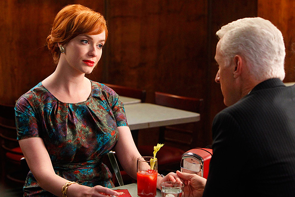 Mad Men, Christina Hendricks | Here, we see Joan bringing together the elements of every other dress she has ever worn — and will ever wear — with raw perfection.…