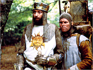 KING & KNIGHT Graham Chapman and Terry Gilliam in Monty Python and the Holy Grail