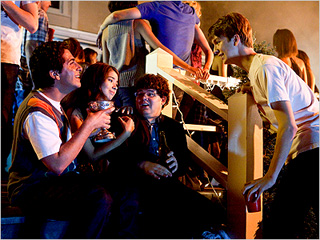 PARTY TIME Oliver Cooper, Nichole O'Connor, Jonathan Daniel Brown, and Thomas Mann in Project X