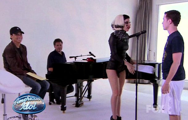 American Idol | Gaga made quite the splash when she mentored the remaining four season 10 Idols. She arrived in a pair of heels shaped like, um, a…