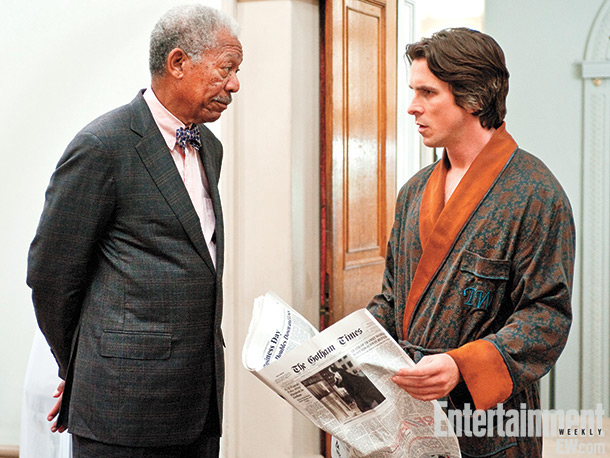 In his casual monogrammed dressing gown, Bruce Wayne consults technology guru Lucius Fox (Morgan Freeman), the man behind Batman's toy chest of utility goodies. Fox…