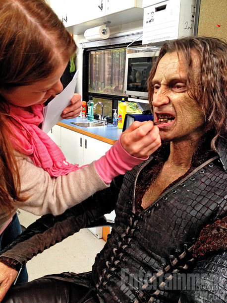 Though Goodwin generally logs about two hours in the makeup chair, it takes Robert Carlyle more than four hours to transform into the malevolent ­Rumplestiltskin.