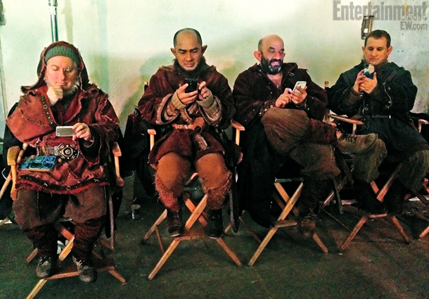 Goodwin couldn't resist taking this picture of ? some of the actors who portray the seven dwarfs ?on their phones while dressed in ­medieval garb.…