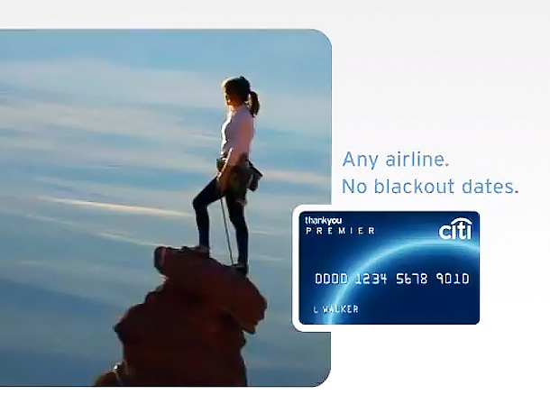 Things that a Citi Card can buy you, according to this spot: major mountaineering gear, an MP3 of soaring indie pop, and enough cojones to…