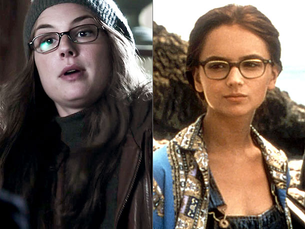 Revenge, Emily VanCamp | In a flashback, we saw Emily wearing an outfit that made her look like Annie Hall in Portland circa 1993 (left). She was spying on…