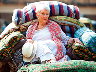 COMFY DAME Judi Dench retires to a shabby Indian hotel in Best Exotic Marigold Hotel