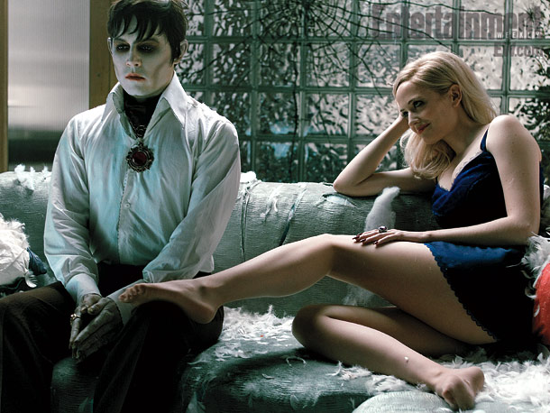 Johnny Depp as Barnabas Collins and Eva Green as Angelique Bouchard