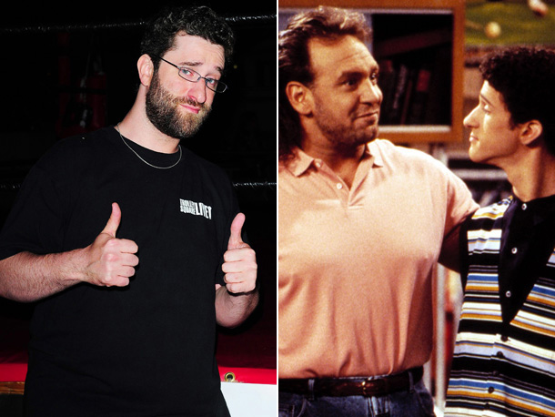 Dustin Diamond, Saved by the Bell: The College Years | Dustin Diamond (Screech Powell) and Bob Golic (Michael Rogers), whose dressing rooms were adjacent to one another on the set of Saved by the Bell:…