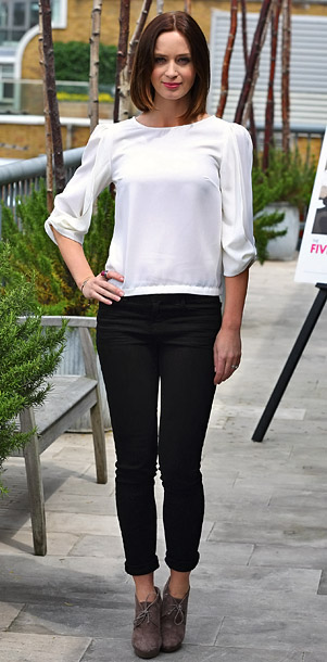Emily Blunt at a photo call for The Five-Year Engagement in London