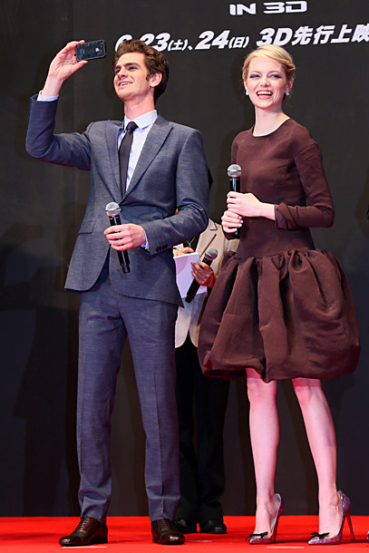 Andrew Garfield and Emma Stone at the premiere of The Amazing Spider-Man in Tokyo