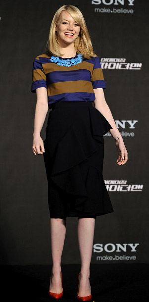 Emma Stone in Burberry Prorsum at a press conference for The Amazing Spider-Man in Seoul