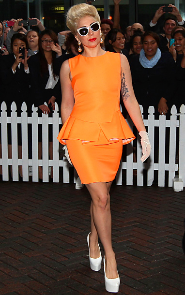Lady Gaga in Antonio Berardi at the Stamford Hotel in Auckland, New Zealand