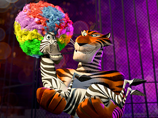 MADAGASCAR 3: EUROPE'S MOST WANTED Marty the Zebra (Chris Rock, left) is safe in the arms of Vitaly the Tiger (Bryan Cranston, right)