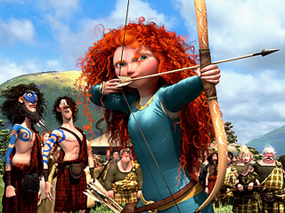 RED-HEADED HEROINE Kelly Macdonald, Billy Connolly, and Emma Thompson voice the royal Scottish family in Brave