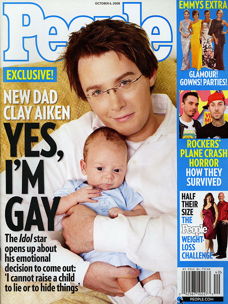 October 2008 Clay Aiken comes out on the cover of People magazine, posing with his newborn child, who he says was conceived via in vitro…