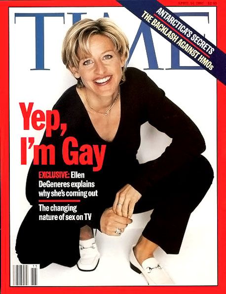 April 1997 Ellen DeGeneres reveals she's a lesbian in a Time magazine cover story called ''Yep, I'm Gay'' just two weeks before the character she…