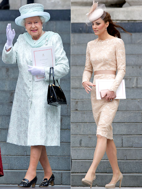 Kate Middleton, Queen Elizabeth II | While Catherine was the picture of understated glamour in a nude lace frock by Sarah Burton for Alexander McQueen during a special service at St.…