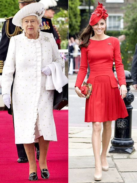 Kate Middleton, Queen Elizabeth II | All hail McQueen! During a cruise down the river Thames, Queen Elizabeth's Angela Kelly boucle dress and coat (designed by in-house couturier Angela Kelly) glittered…